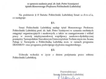 The rector of TNTU Petro Yasniy became an Honorary Professor of Polish HEI